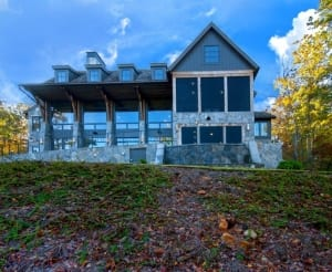 front view of luxury lake home on Lake Keowee